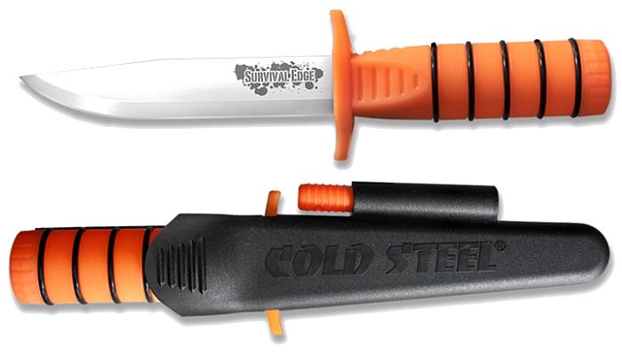 Il coltello Survival Edge Orange al sicuro nel fodero Secure-Ex® (anche l'acciarino è arancione)