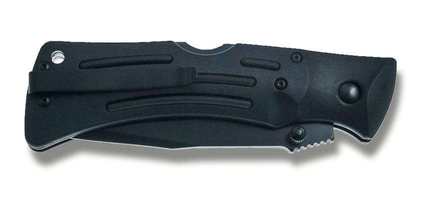 Il KA-BAR Mule Folder serrato (notare la clip sulla sinistra per l'aggancio alla cintura o allo zaino)