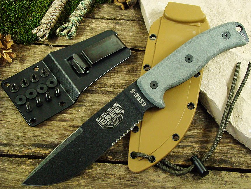 Un bestseller: coltello survival tattico ESEE-6P con lama al carbonio parzialmente seghettata