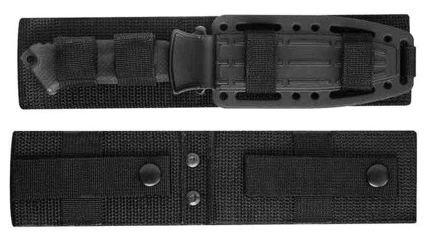 Il fodero in nylon balistico visto da ambo i lati (in alto si nota il coltello ben allacciato e custodito)