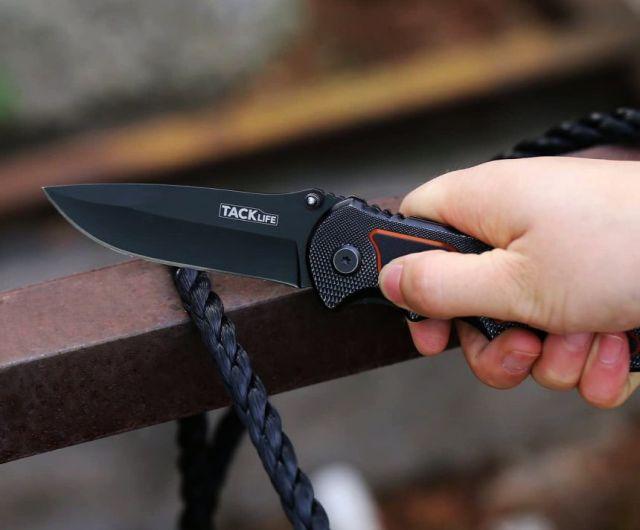 Migliore coltello pieghevole TACKLIFE per sopravvivenza, campeggio e caccia, con lama in acciaio inox