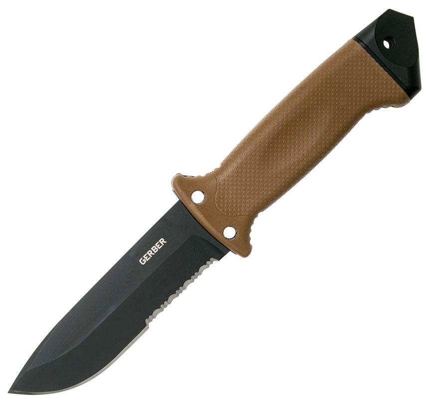 Coltello Tattico Gerber LMF II Infantry Coyote Brown, con lama antiriflesso in acciaio 420HC ad alto contenuto di carbonio, affilatore e cinghie regolabili