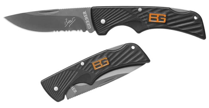 Il coltello a serramanico tascabile Gerber Bear Grylls aperto e serrato
