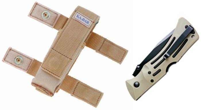 Il fodero con a lato il coltello serrato (notare la clip, e sotto al centro il meccanismo Lock Back)
