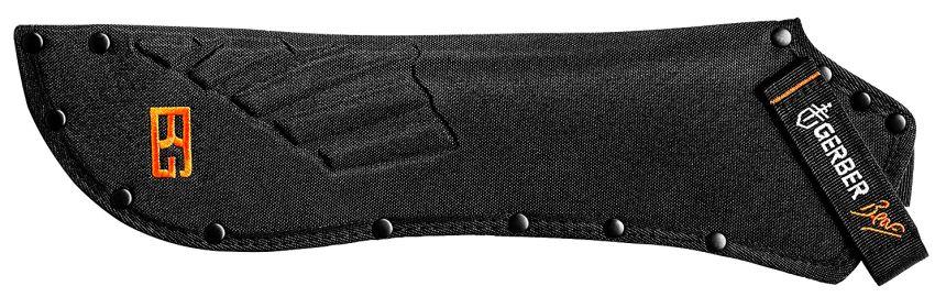 Il fodero del machete Gerber Parang in nylon rinforzato e rivettato, firmato ovviamente da Bear Grylls